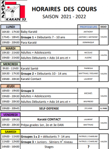 horaires cours karaté